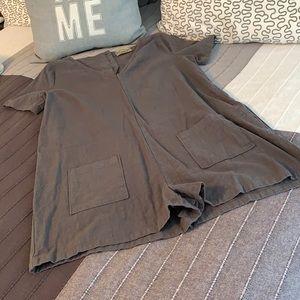 NEW Gray Linen Shortall Romper Button Pocket S